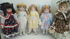 "Vintage Lot of 5 1980s Porcelain Dolls 15"" incl 1 Heritage Mint Various Dress"