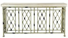 Distressed iron console table with a latticed design. Product: Console tableConstruction Material: Wood and ironColor: Distressed ivoryFeatures: Lattice designDimensions: H x W x D Iron Console Table, Lattice Design, Tuscany, Modern, Furniture, Iron Railings, Home Decor, Group, South Beach