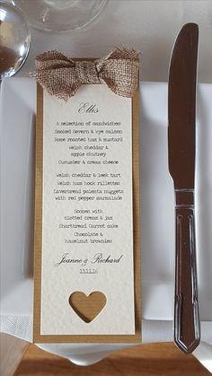 Rustic, handmade kraft & hessian wedding menu/place card