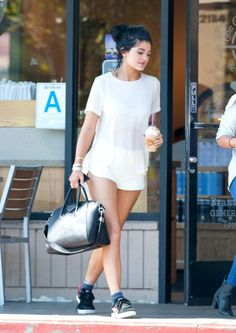 October 9, 2014-Kylie Jenner getting coffee in LA.