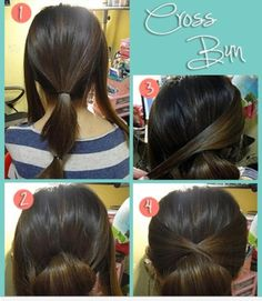 The Cross Bun this is so cute and easy I have more time to sleep in