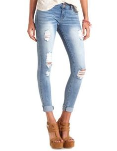 "refuge ""boyfriend"" medium wash destroyed jeans"