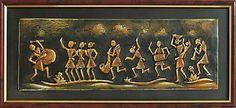 Village Dancing Scene - Wall Hanging (Terracotta))