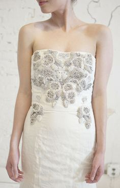 Monique Lhuillier 'Josie' Crystal Embroidered Gown - Nearly Newlywed Wedding Dress Shop