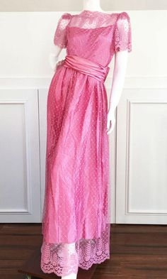 1950s Vintage Dusty Rose Full Length Satin Gown with Lace Overlay, Short Sleeves, Matching Satin Bow/Belt  (10096CL) by LipstickGirlVintage on Etsy