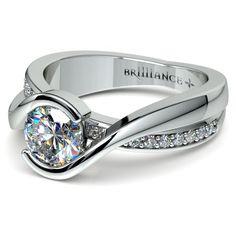 Bezel Diamond Bridge Engagement Ring in Platinum | Image 04