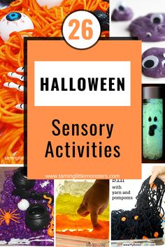 26 Sensory Activities for Halloween. 26 fun and easy halloween sensory play ideas for toddlers, preschoolers and kindergarten. #halloween #sensory #toddlers #preschool #halloween Preschool Halloween, Halloween Activities For Kids, Easy Halloween, Halloween Themes, Sensory Bins, Sensory Activities, Sensory Play, Science Experiments Kids, Play Ideas
