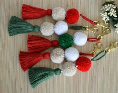 Items similar to Pom pom Keychain Pom Pom Bag Charm Tassel Key Chain Purse Charm Christmas Decoration Christmas Decor Christmas Gift Handbag Charm Tassels on Etsy Diy Christmas Room, Christmas Door Decorations, Tassel Keychain, Diy Keychain, Pom Pom Crafts, Yarn Crafts, Diy Tassel, Tassels, Xmas Crafts