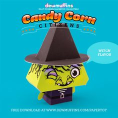 Witch Flavor  Dewmuffins Candy Corn Citizens paper toy available for download at www.dewmuffins.com/papertoy. #dewmuffins #candycorn #papertoy #halloween #papercraft