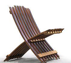 wine barrel folding chair