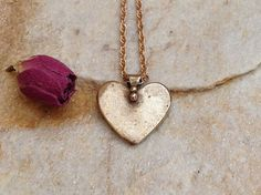 Bronze heart pendant bronze heart dangling heart pendant gold heart necklace romantic heart jewelry rustic wedding jewelry bridal gift idea