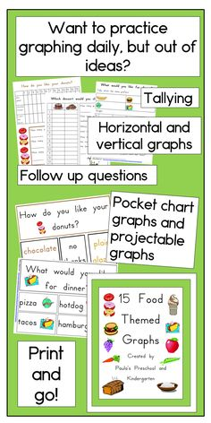 15 graphs about food, each as a projectable graph and as pocket chart headers. Ready to print and go! TpT $