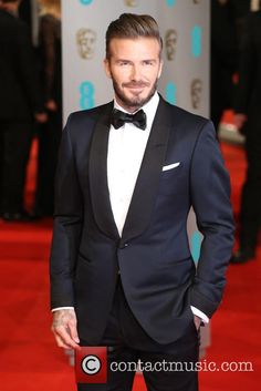 David Beckham at the EE British Academy of Film and Television Awards looking dapper in a Tuxedo