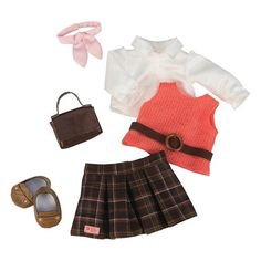 The Our Generation Deluxe Retro Outfit - Cardigan is designed for 18-inch Our Generation dolls. Fun and sporty, this set features a plaid skirt, oxford shirt, sweater vest and neck tie with accessories. Great for a day at work or school, this retro-inspired Our Generation Doll Clothes are a fun addition to all OG Dolls wardrobes.