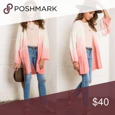 Coral Ombré Cardigan for Girl Coral ombre cardigan with fringe sleeves. Shirts & Tops Sweaters