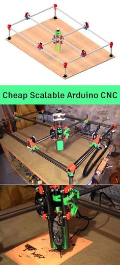 How to make a cheap scalable CNC machine controlled by Arduino.You can find Arduino and more on our website. Arduino Cnc, Routeur Cnc, Diy Cnc Router, Router Woodworking, Woodworking Projects, Woodworking Cnc Machine, 3d Printing Business, 3d Printing Diy, Diy Electronics