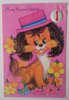 Retro 1970's Birthday Card Wide Eyed Dog Design   eBay