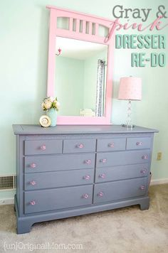 Beautiful thrifted dresser transformation with chalk paint. Love the gray and pink color combination, and the pink acrylic knobs! Great for a little girl's room.