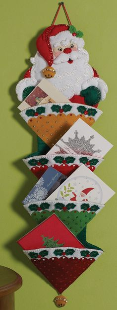 Bucilla 86317 Holly Jolly Santa Card Holder Felt Applique Kit, by Christmas Sewing, Christmas Items, Felt Christmas, Christmas Projects, Christmas Stockings, Christmas Ornaments, Felt Decorations, Christmas Decorations, Holiday Decorating