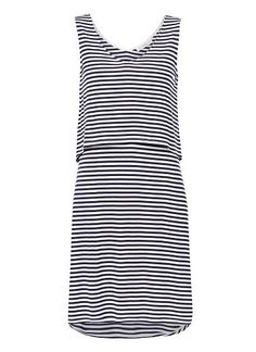 Viscose/Elastane Double Layer Stripe Dress. Comfortable fitting silhouette features a front and back dipped v-neck, double layered body in an all over stripe. Available in Midnight/White as seen below.