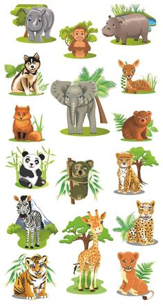 2 Farm Animals Art 154 Best Art Cartoon Animals images - Top Of The World Cartoon Pics, Cartoon Art, Cute Cartoon, Cartoon Giraffe, Safari Animals, Baby Animals, Cute Animals, Cartoon Jungle Animals, Wild Animals