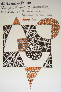 Sketchcrawl Gouda #tvmdndt 30 Vul je vel met 2 driehoeken 2 cirkels 2 vierkanten. Verbind ze. Voeg kleur toe.