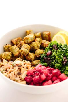 Harvest Power Bowl with Dr. Praeger's Kale Puffs, Maple Lemon Kale, Apple Almond Farro Salad, and Cranberry-Apple Chutney