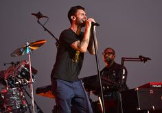 Adam Levine belts out a note during Maroon 5's 2014 VMA rehearsal. from Maroon 5