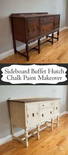 Sideboard Buffet Hutch Chalk Paint Makeover Hutch Makeover, Buffet Hutch, Upcycled Furniture, Diy Furniture, Painted Furniture, Buffet Ideas, Annie Sloan, Chalk Paint, Shabby Chic