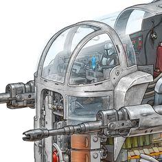 Tha Mandalorian's Razor Crest cross-section, Max Degtyarev Mandalorian Ships, Boba Fett Mandalorian, Star Wars Fan Art, Star Trek, Star Wars Spaceships, Starship Concept, Star Wars Vehicles, Spaceship Art, Star Wars Images