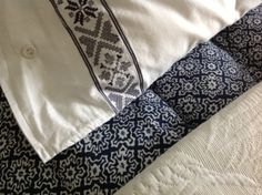 Blue and white bed linen Bed Linen, Linen Bedding, White Bedding, Blue And White, Bed Linens, Linen Sheets, White Linen Bed, Bedding, White Linens