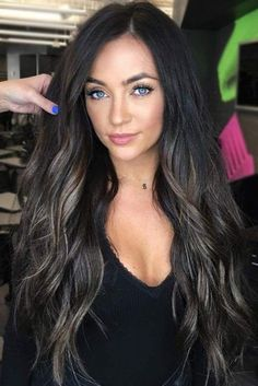 Ashy Highlights ❤️ Do you know how awesomely you can pull off black hair with highlights today? Let us share with you the latest ideas! Caramel and chocolate shades, silver hues, Black Hair With Highlights, Hair Color For Black Hair, Brown Hair Colors, Hair Highlights, Black Brown Hair, Red Hair, Dark Brown, Curly Hair Styles, Long Dark Hair