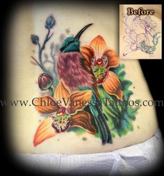 Carmine Bee Eater Bird and Orange Orchid Flowers Cover Up Tattoo