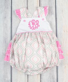 Love this Stellybelly Pink & Gray Ruffle Monogram Bubble Romper - Infant & Toddler by Stellybelly on #zulily! #zulilyfinds