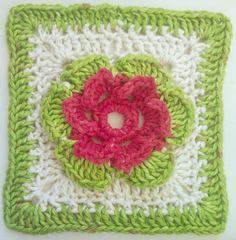 Tangled Blossoms Design: 1st of Free blanket square patterns... flower square