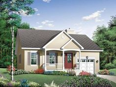 Essa é ótima!! Eplans Cottage House Plan - Attractive and Comfortable - 1220 Square Feet and 2 Bedrooms from Eplans - House Plan Code HWEPL10338