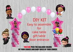 Boss Baby Shower Girl Balloon Columns and Arch, Cake Table, Gift Table, DIY KIT Party Supplies