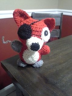 Five Nights at Freddys:Foxy the Pirate by GrimmWolf360 on deviantART (this is so cute, I will make that soon, all I need is grey yarn and a crochet tutorial on how to do a plush project. I will cuddle him 4eva :3)