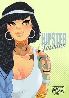 Inked Disney Princesses Go Glam, Goth And Hipster In This Art Series - Jasmine #disneyprincesses