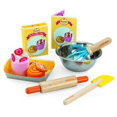 """For the little petite baker. """"MY BAKERY SET"""" comes with different ingredient and bakery utensils. Children can pretend that they are baking a real strawberry cake and Orange Danish as if they are real cakes. A pictures cooking guided is provided for easy playing instruction. Be ready to make your own delicious cakes!"""