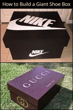 With this project, you can create a giant version of your favorite brand's shoe box. Giant Shoe Box Storage, Shoe Storage, Makeup Storage, Fun Diy Crafts, Diy Craft Projects, Sneaker Storage, Sneakers Box, Hanging Shoe Organizer, Box Building