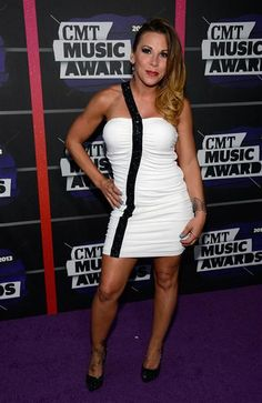 2013 CMT Music Awards...OK, change the black trim to a trim made of pearls, sequins, or crystals for a designer style wedding  gown.