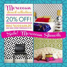 Moroccan Stencils SALE through Sunday, May 18th | Use Promocode Moroccan20 | Royal Design Studio