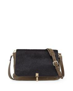 Leather & Calf Hair Crossbody Bag, Black/Moss by Elizabeth and James at Bergdorf Goodman.