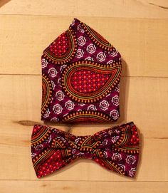 African Wax Print Paisley Men's Bow Tie and Pocket Square Set by fancyfreeboutique on Etsy