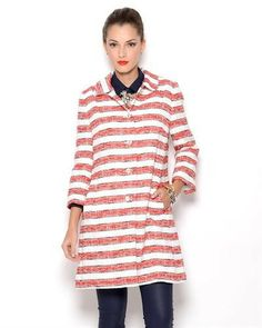 Dolce & Gabbana 93% Cotton  Striped Womens Coat - Made in Italy