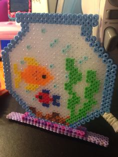 Fish Bowl perler beads by Katie Binesh