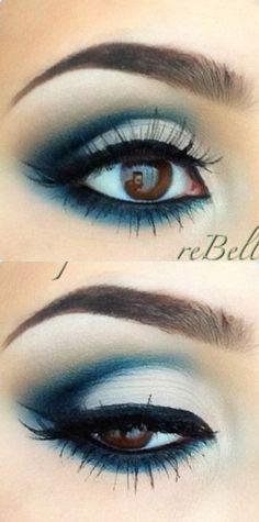 Bold dark blue cut crease.
