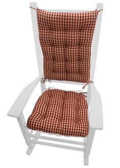 """Checkers Red and Tan checkered rocking chair cushions are made in a traditional checked pattern of 1/4"""" checks perfect for a rustic decor! Made in USA with America  #traditional #maandpa"""