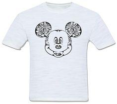 mickey mouse disney camiseta tribal preto e branco pb estilizado